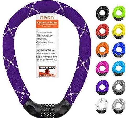 nean lucchetto per biciclette con numeri e rivestimento in tessuto estremamente robusto, serratura a catena per bici a combinazione di codici numerici, 6 x 6 x 6 x 900 mm (viola)