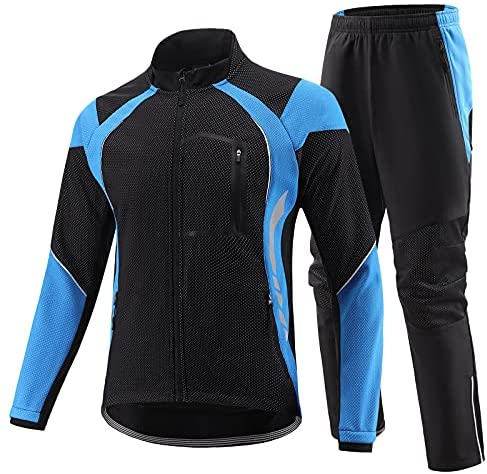 BALEAF Men's Fleece Cycling Jacket Thermal Bike Pants Windproof Motorcycle Cold Weather Biking Outfits Winter Clothing