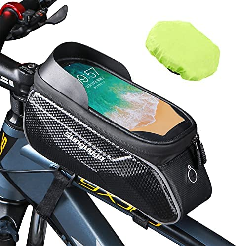 Bike Phone Bag Bike Frame Bag Waterproof Bag for Phone Bike Pouch Bike Phone Mount Compatible with iPhone/Android Cellphones Fit 6.9″, Bike Accessories for Adult Bike
