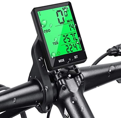 Prumya Compteur de Vélo, Ordinateur de Vélo sans Fil Étanche, Écran LCD Rétroéclairage Multifonctions Compteur Kilométrique, Température, Vitesse, Facile à Monter et à Programmer avec Support