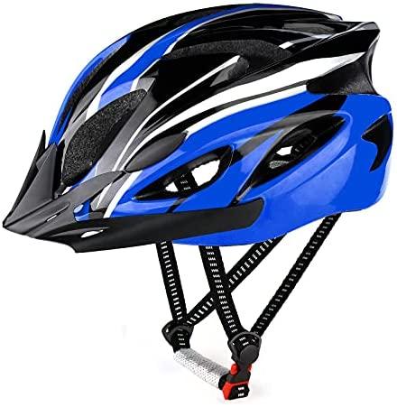 RaMokey Casco de bicicleta para adultos, hombre y mujer, cuerpo de poliestireno expandido + carcasa de policarbonato, casco de bicicleta de montaña con visera extraíble y acolchado, casco ajustable 57-63 cm