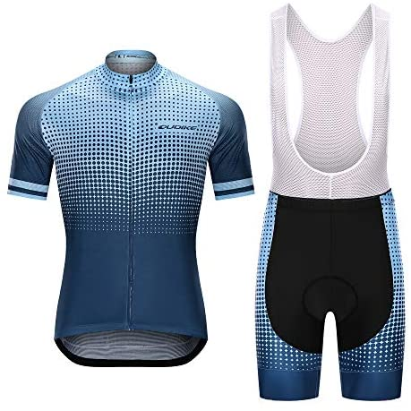 Men's Cycling Jersey Sets Road Bike Short Sleeve Bib Pants with Sponge Padded Riding Clothing Suits Quick-Dry