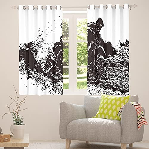 """Dirt Bike Window Treatments, Boys Youth Motorcycle Window Drapes, Motocross Racer Curtain Panels, Extreme Sports Games Splash Window Curtains Bedroom Decoration 38W""""x45L"""" Black For Kids Teens"""