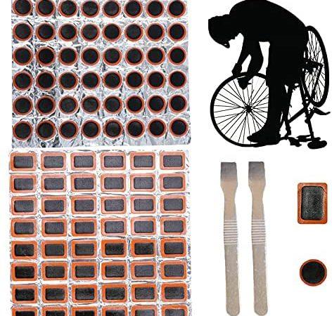 JINCHENG 96 Pièces Kit de Patch de Réparation de Pneu contenir 48 Pièces Rondes 48 Patchs Carrés Vélo et 2 pcs Leviers de Pneu de Pneus Patch Cyclisme Réparation en Caoutchouc Outil Patchs