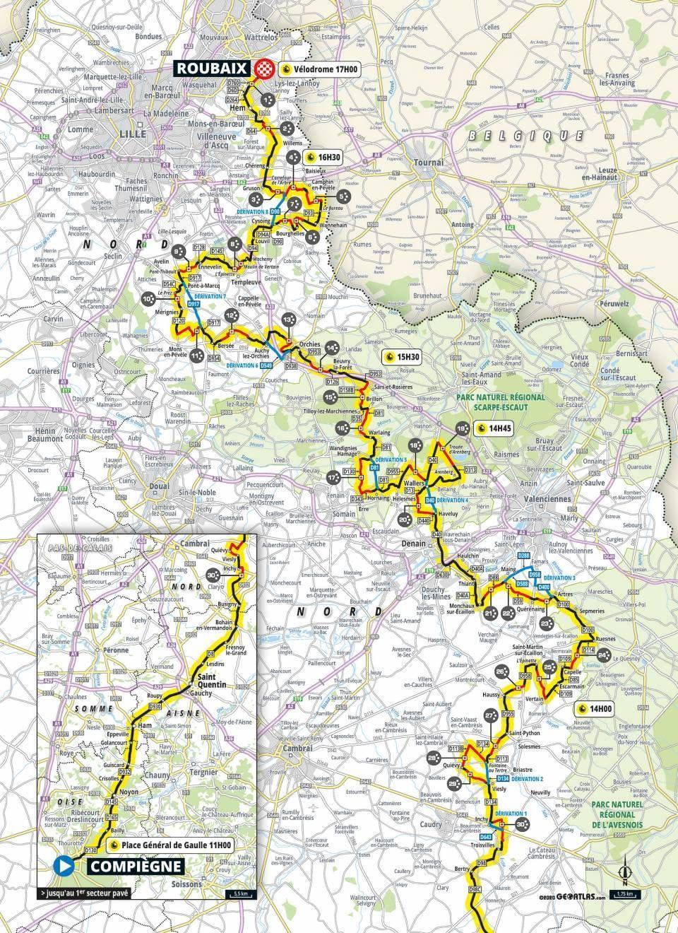 Karte Paris-Roubaix 2021 |  Radsportnews