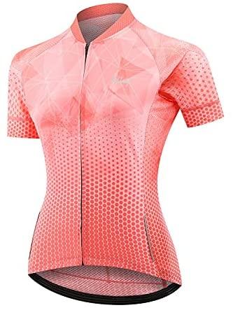 BALEAF Women's Cycling Bike Jersey Short Sleeve Breathable Bicycle Shirt 4 Rear Pockets UPF 50+
