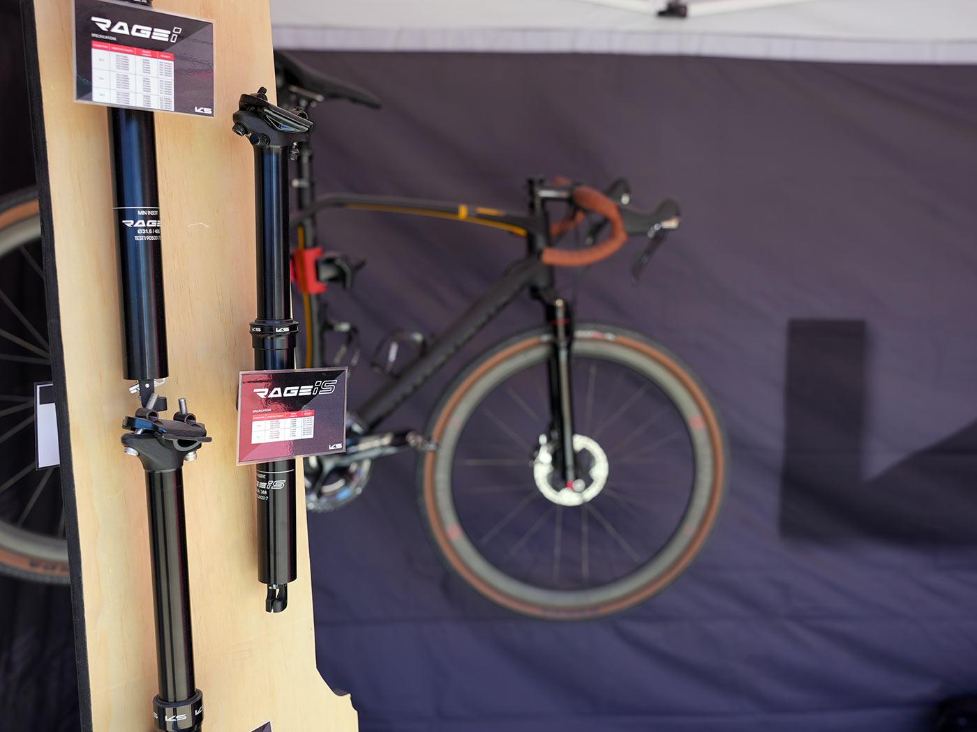 Tija de sillín telescópica con suspensión KS Rage iS y horquilla de suspensión de grava de carbono prototipo emergente