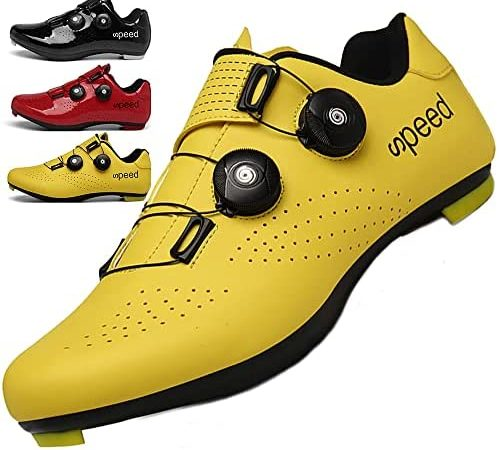 KUXUAN Calzado de Ciclismo Hombre Mujer con Bloqueo Zapatos Bicicleta de Carretera Calzado eléctrico Calzado Deportivo de Ciclismo,Yellow-45EU
