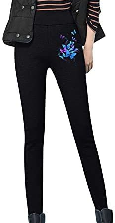 Zldhxyf Thermobroek voor dames, winter, outdoor, gevoerde legging, fiets, panty, thermische legging, hoge taille, warme vrijetijdsbroek, pluche legging, warme broek, fleece, thermische broek, dikke sweatpant, zwart, XXL