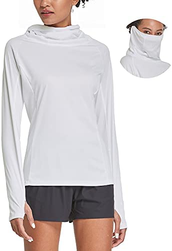 BALEAF Women's Hiking Long Sleeve Shirts with Face Cover Neck Gaiter UPF 50+ Lightweight Quick Dry SPF Fishing Running Hoddie