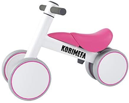 KORIMEFA Bicicletta Senza Pedali, Bicicletta Equilibrio per Bambini 10-36 Mesi con 4 Ruote Ultraleggera e Primo Giocattolo per Bici per i più Piccoli Baby Balance Bike