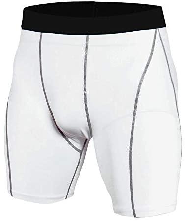NgMik Fiets Compressie Panty Heren Sneldrogende Skinny Stretch Effen Kleur Bike Fietsen Shorts Geschikt Voor Wandelen Fitness Rock Klimmen Recreatie Broek (Kleur: Wit, Maat: S)