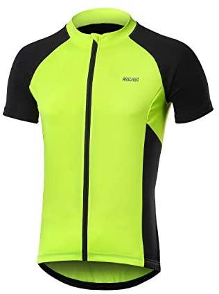 ARSUXEO Men's Short Sleeves Cycling Jersey Bicycle MTB Bike Shirt Zipper Pocket 655