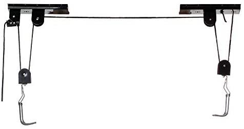 M-Wave 430099 – Portabici da soffitto con carrugola, Colore: Nero