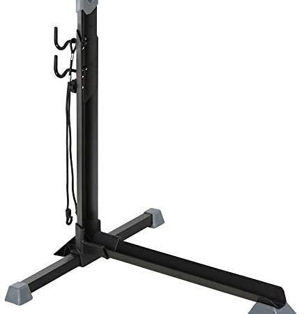 HOMCOM Soporte para Colocar Bicicleta en Vertical Caballete de Bicicleta Ajustable en Altura con Correa de Fijación Fácil de Transportar Soporta 30 kg 66x56x63-77,5 cm Negro