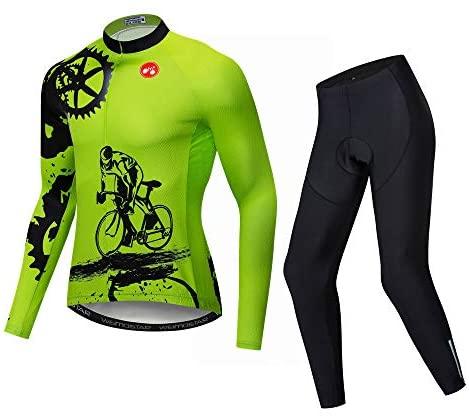 Mannen Fietsen Lange Mouwen Ademend Jersey Set 3D Gewatteerde Lange Broek Bike Shirt Fiets Panty Kleding