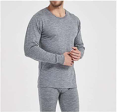JFTMY Traje de Ropa Interior térmica para Hombre Camisa de Fondo Cepillado Engrosada Pantalones Largos Qiu Yi (Color : Gray, Size : XL Code)