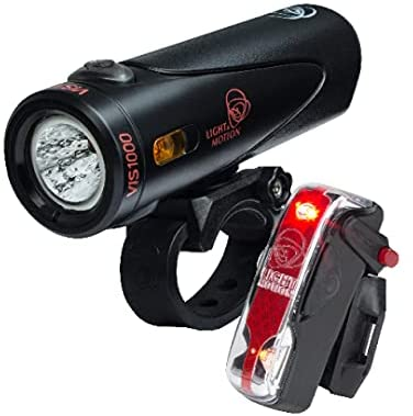 Light & Motion Power Combo, Vis 1000 + Vis 180 Pro Provide Extreme Power for Superior Night and Day Safety. USB Recharge, Quick Mounting, Industry-Leading Performance and Reliability, Black and Red