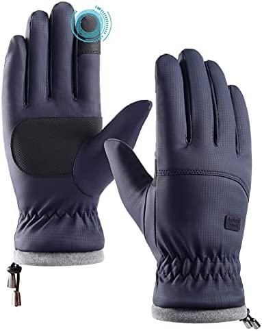 QUEBEAR Men Winter Warm Touchscreen Gloves Waterproof Windproof Anti-Slip Thermal Glove