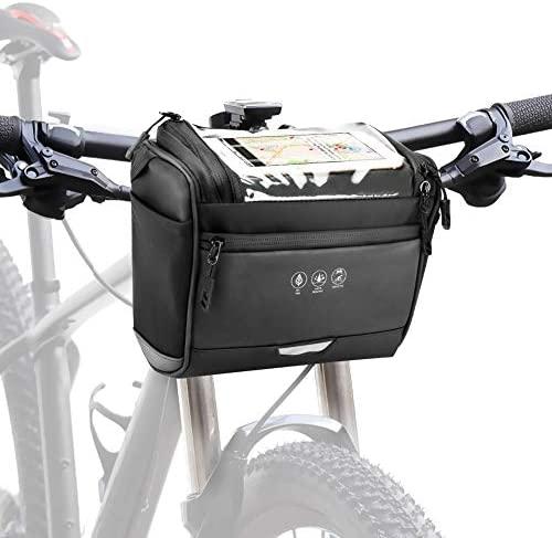 CestMall Sac Avant de Vélo, Sac Avant de Vélo Etanche, Sacoches de Guidon avec Grande Capacité, Sac Bandoulière Epaule avec Support pour Cyclisme Randonée