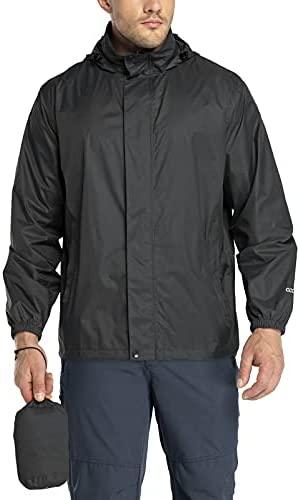 33,000ft Packable Rain Jacket Men's Lightweight Waterproof Rain Shell Jacket Raincoat with Hood for Golf Cycling Windbreaker