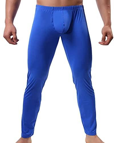 FOLGUT Mens Tight Long Underwear Bottoms Smooth Thin Leggings Long Johns Pants