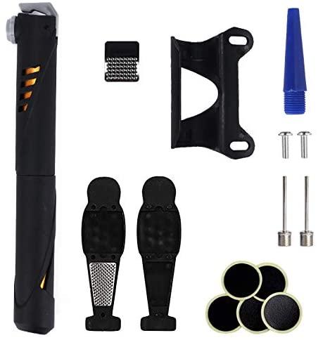 MIZOMOR Bike Air Pump with Gauge Portable Bike Pump for Bike Tires, Mini Mountain Road Bike Pump Bicycle Hand Pump for Hybrid & BMX Bike and Sports Ball