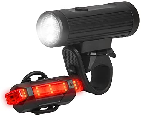 ANVAVA Luz Bicicleta Recargable USB, 600 Lúmenes LED Luces Bicicleta Delantera y Trasera, 4 Modos, IPX6 Impermeable Luces Seguridad para Ciclismo de Montaña y Carretera (Negro)