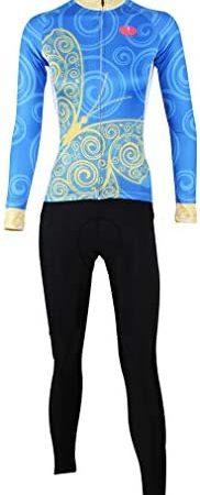 Winter sport vrouwen fietsshirt lange mouw ademende tops Set 3D gewatteerde lange broek fietsbroek kleding