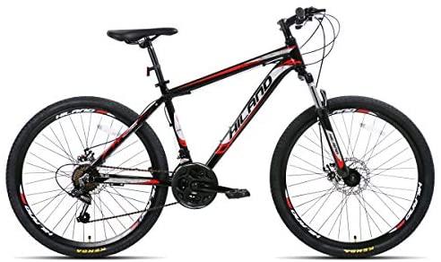 Hiland Bicicleta de montaña de 26 pulgadas de aluminio con marco de aluminio de 17 pulgadas, frenos de disco, ruedas de radios de 3/6 radios, horquilla de suspensión de 21 marchas.
