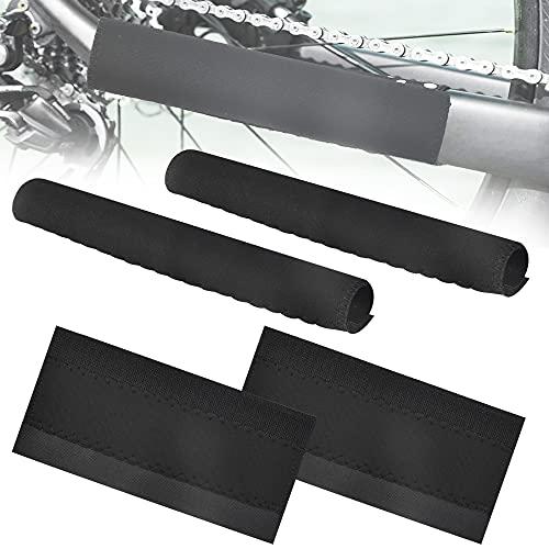 BUENTYA 4 PCS Protecteurs de Cadre de Vélo en Velcro Protège-Base Chainstay Autocollants de Chaîne de Garde Noir Protection Cadre VTT pour Empêche le Vélo de Se Rayer et de Rouiller(22*10.5cm)