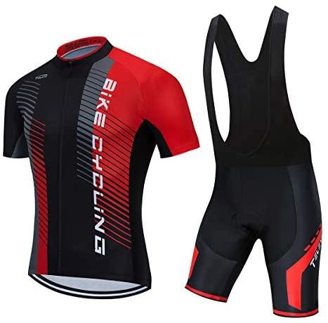 Men's Cycling Jersey Set, Summer Boys Bib Shorts Suits Mountain Bike Cycling Clothing Set Biking Riding Jerseys Breathable