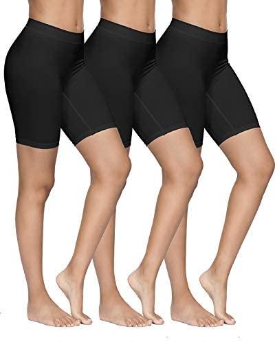 YADIFEN 3 Paquet Short sous Robe Femme Culotte Taille Haute Short de Yoga Longue Legging Cyclisme Doux Anti-Chafing Boyshort Taille S-3XL