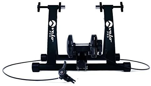 Velo Pro Turbo Trainer | Bike Trainer Magnetico da Interni a Resistenza variabile per Strada e Mountain Bike | Base stazionaria Allenamento Bici | Telaio Pieghevole in Acciaio | 26″ – 28″, Ruote 700C