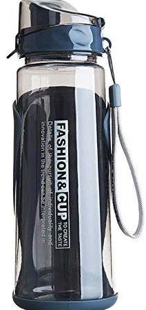 fuchsiaan Botella de agua para deportes con tapa abatible de 800 ml, para viajes al aire libre, camping, a prueba de fugas, para gimnasio, ciclismo, correr, yoga, senderismo, color gris