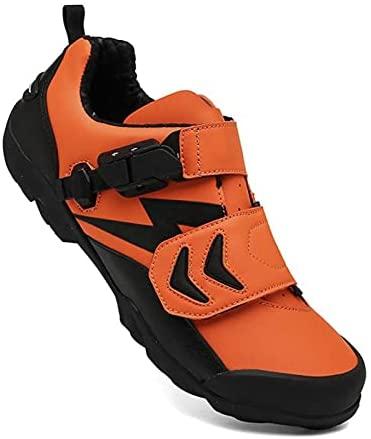 Sebasty Zapatillas de Ciclismo MTB,Deportes Al Aire Libre para Hombres,Zapatillas de Bicicleta de Montaña Planas Sin Bloqueo,Que Compiten con Zapatos de Bicicleta para Mujeres,Orange-42