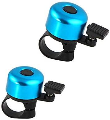 SJUNJIE 2 Piezas Timbre de Bicicleta de Aluminio Clásica con Sonido Nítido y Fuerte Mini Campana de Ciclismo para Bicicleta de montaña Bicicleta de Carretera Bicicleta Infantil(Azul)