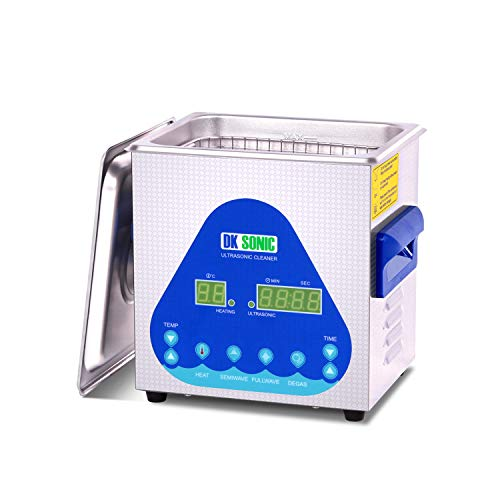 DK SONIC Ultrasonic Cleaner with Digital Timer and Basket for Denture, Coins, Record, Daily Necessaries, Lab Tools, Metal Parts, Carburetor, Brass, Auto Parts, Engine Parts, etc (2.1L, S)