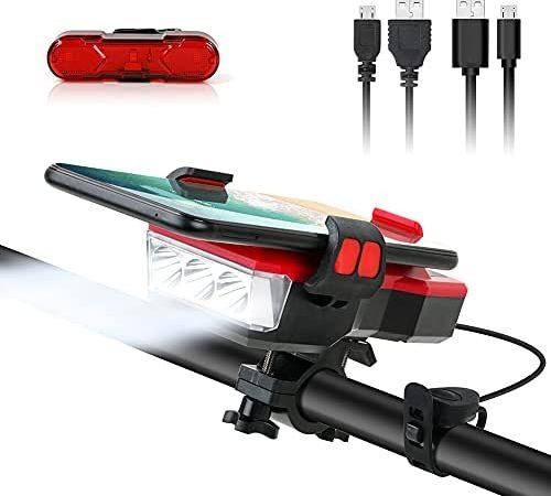 Luci per Bicicletta Ricaricabili USB, Luci Bicicletta LED 4000mAh Power Bank, 550LM, IPX4 Impermeabile Antiurto Luce Anteriore e Posteriore, Luci di Mountain Bike per la Guida Notturna