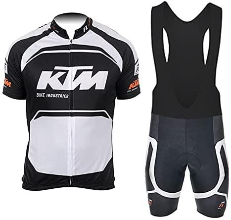 d'Stil Abbigliamento Ciclismo Da Uomo,Top Manica Corta + Pantaloncini Da Ciclismo Con Gel Pad Asciugatura Veloce Traspirante Anti-Sweat Per Bici Da Corsa MTB