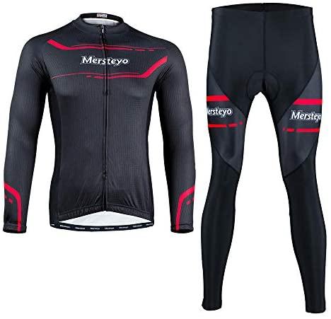 LybMjG Fietsjas fietsbroek, winter fleece fietsshirt met lange mouwen voor heren, fietswarmer