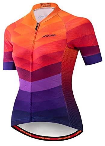 Damen Radtrikot Kurzarm Biking Shirts Fahrradbekleidung Fahrradjacke mit Taschen Atmungsaktiv