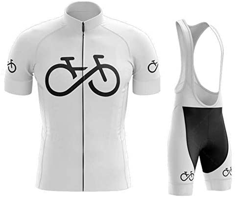 Maillots De Ciclismo Hombre Verano Mangas Cortas, Maillots De MTB Pantalones De Cortos De Correa con Cojín De Gel 19D, Ropa Correr Anti-UV,Blanco,S