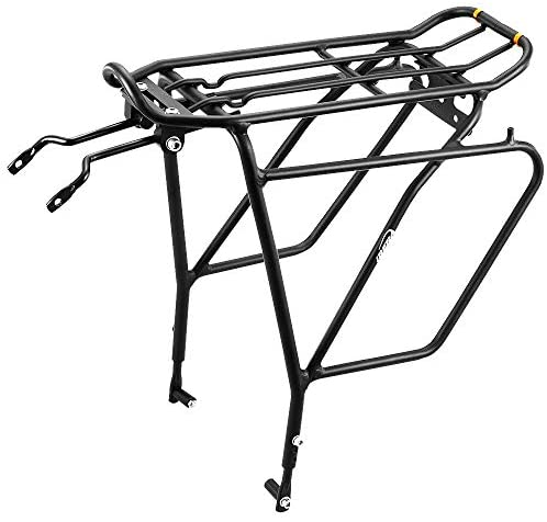 Ibera Bike Rack – Bicycle Touring Carrier Plus+ for Disc Brake Mount, Frame-Mounted for Heavier Top & Side Loads, Height Adjustable for 26″-29″ Frames