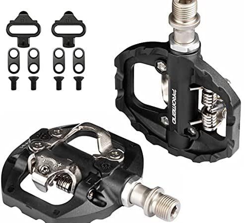 Pedales Mixtos MTB compatibles con Shimano SPD automáticos – Pedales de Bicicleta de Montaña de Liberación Rápida con Calas, Fibra de Nailon Ligera Aleación de Aluminio, para MTB BMX E-Bike, 9/16″