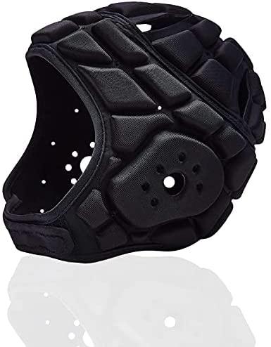 Soft Padded Headgear Soft Football Helmet Youth Kids Adults Soccer Rugby Kits Ultra-Thin Soft Protective Helmet Goalkeeper Adjustable 7v7 Head Fall Protector DozingPig