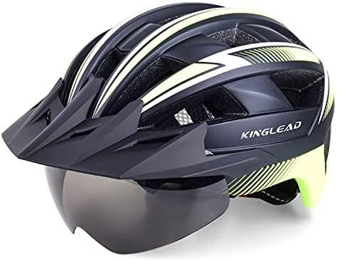 KINGLEAD Casco Bicicleta Adulto, Casco de Bicicleta Hombre Mujer Montaña con Luz LED Recargable por USB y Gafas Magnéticas Desmontable, Casco de Ciclismo Superligero Ajustable con Certificación CE
