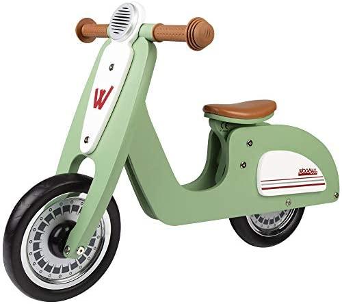 WOOMAX – Bici sin pedales madera, vespa madera, bici Scooter, bicicleta iniciación niños, bici sin pedales niño 2 años, máx 25 Kg, de 24 meses a 5 años (85378)