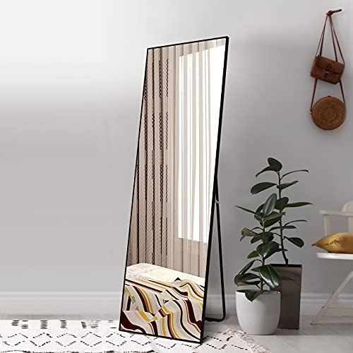 Ruomeng Full Length Mirror 65″X22″ Floor Mirror Standing Hanging or Leaning Against Wall, Aluminum Frame Dressing Mirror Wall Mounted Mirror, Frosted Black