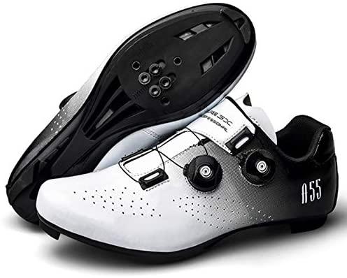 RHSMQ Scarpe da Bicicletta da Ginnastica Professionali Scarpe da Ciclismo Scarpe da Bici Autobloccanti da Uomo Scarpe da Ciclismo da Donna(45, White)